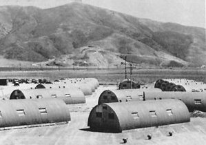 Quonset huts at Laguna Peak, Point Mugu, in 1946