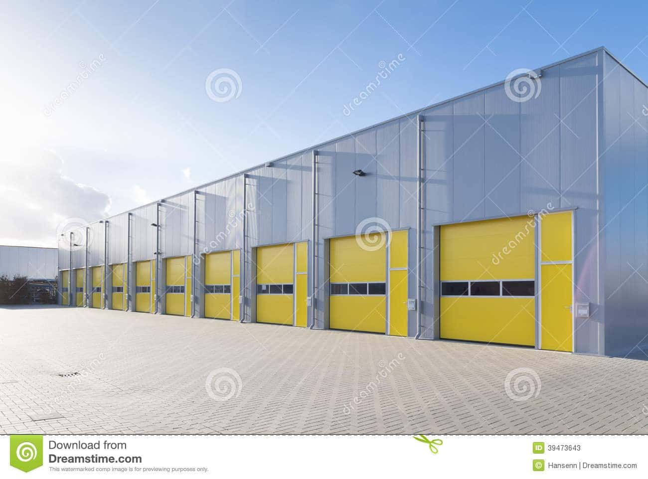 Commercial Warehouse Exterior Yellow Roller Doors 39473643 Future Buildings