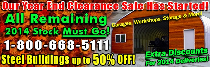 Steel Building Clearance Sale 2014