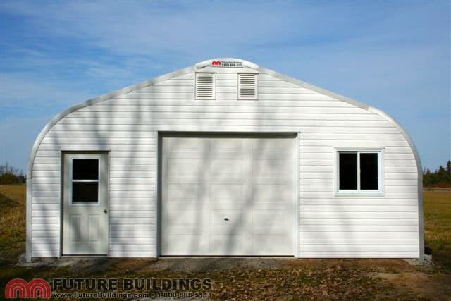 a-model-white-steel-garage-front